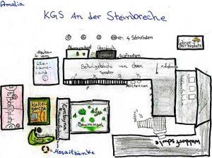 Grundriss der Mohnwegschule von einer Schülerin gezeichnet